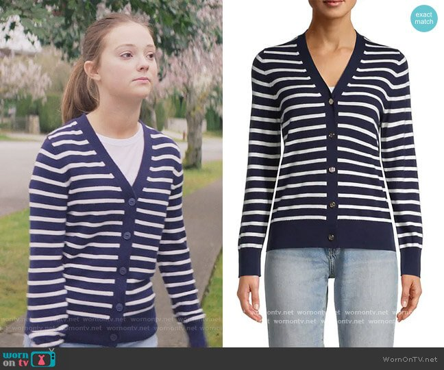 Striped V-Neck Cardigan by Kate Spade worn by Kristy Thomas (Sophie Grace) on The Baby-Sitters Club