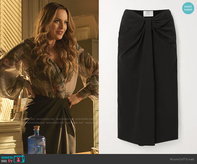 Knotted Cady Midi Skirt by Valentino worn by Fallon Carrington (Elizabeth Gillies) on Dynasty