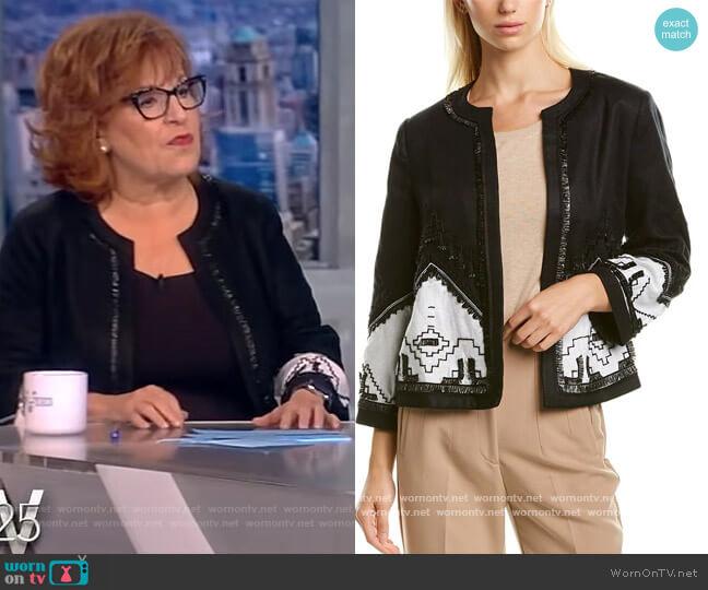 Contrast Linen-Blend Embroidered Jacket by Kobi Halperin worn by Joy Behar  on The View