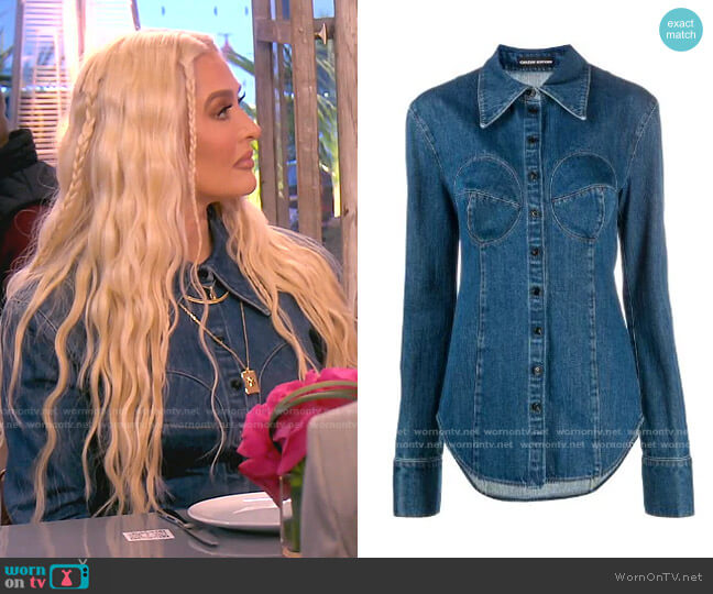 Button-Down Denim Shirt by Kwaidan Editions worn by Erika Jayne  on The Real Housewives of Beverly Hills