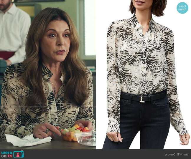 Mattea Graphite-Print Blouse by Lafayette 148 New York worn by Kit Voss (Jane Leeves) on The Resident