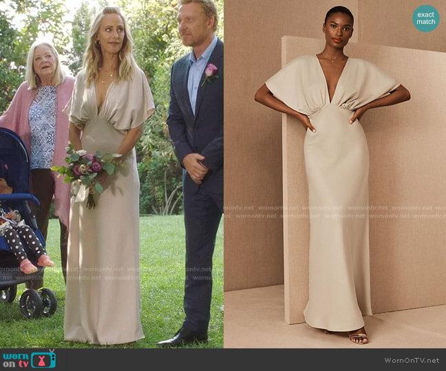 Leila Satin Charmeuse Maxi Dress by Bhldn worn by Teddy Altman (Kim Raver) on Greys Anatomy