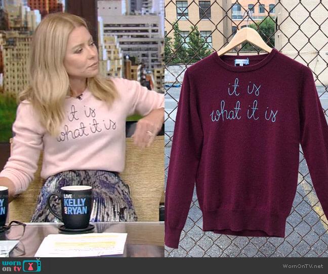 Custom made by Lingua Franca worn by Kelly Ripa  on Live with Kelly & Ryan
