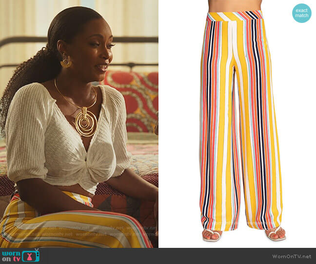 Long Weekend Striped Pants by Trina Turk worn by Angela Vaughn (Yaya DaCosta) on Our Kind of People