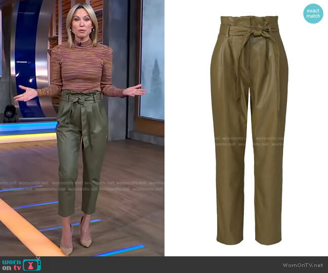 Faux Leather Pants by Love, Whit by Whitney Port worn by Amy Robach  on Good Morning America