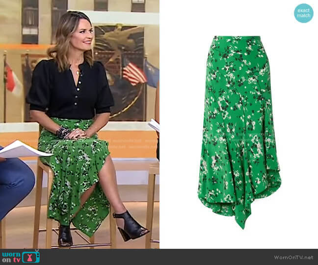 Mac Asymmetric Floral Skirt by Veronica Beard worn by Savannah Guthrie  on Today