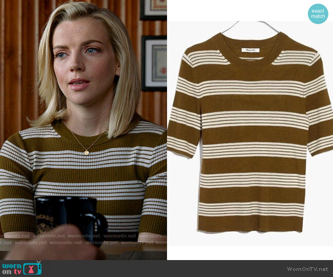 Madewell Ribbed Sweater Top in Bennett Stripe worn by Sylvie Brett (Kara Killmer) on Chicago Fire