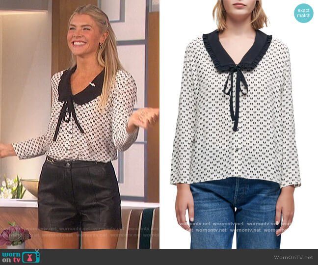 Bow-Print Crepe Shirt by Maje worn by Amanda Kloots  on The Talk