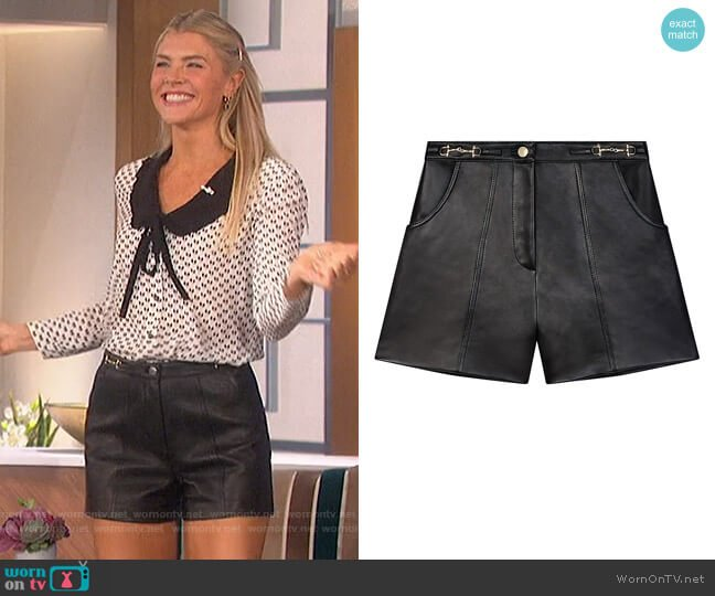 Tailored Horse bit Leather Shorts by Maje worn by Amanda Kloots  on The Talk