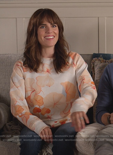 Marina's floral print sweatshirt on Home Economics
