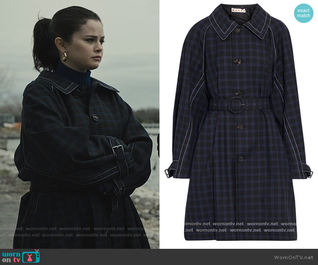 Belted checked wool-gabardine coat by Marni worn by Mabel Mora (Selena Gomez) on Only Murders in the Building