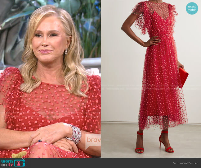 Polka-Dot Tulle Midi Dress by Monique Lhuillier worn by Kathy Hilton  on The Real Housewives of Beverly Hills