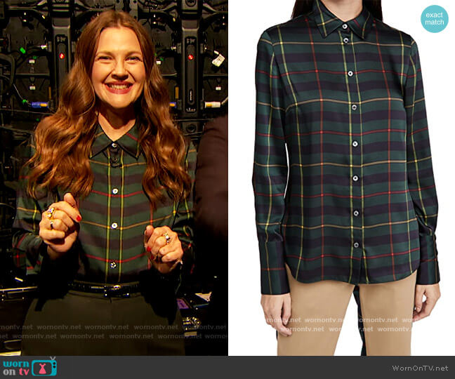 Cowl Back Plaid Blouse by Monse worn by Drew Barrymore  on The Drew Barrymore Show