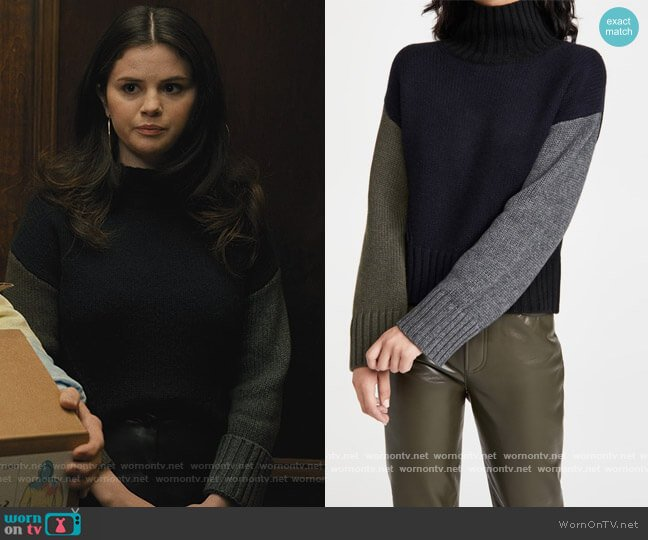 Colorblocked Crop Turtleneck by Naadam worn by Mabel Mora (Selena Gomez) on Only Murders in the Building