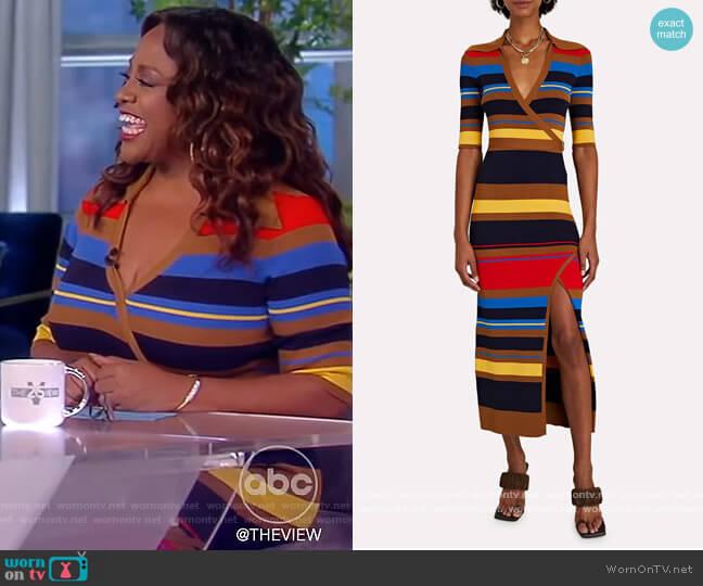 Joanna Striped Rib Knit Wrap Dress by Nicholas worn by Sherri Shepherd on The View