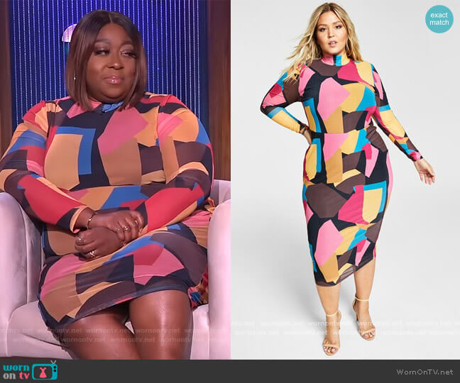Trendy Plus Size Mock-Neck Bodycon Dress by Nina Parker worn by Loni Love  on The Real
