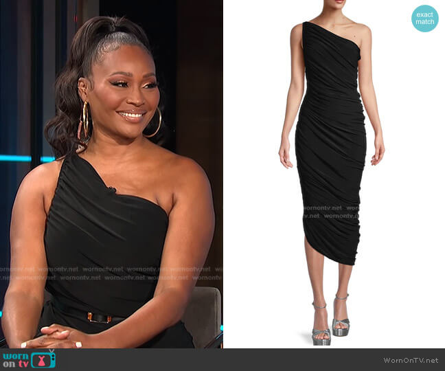 Diana Ruched One-Shoulder Gown by Norma Kamali worn by Cynthia Bailey on E! News Daily Pop