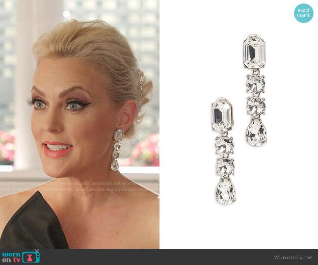 Classic Crystal Large Drop Earrings by Oscar de la Renta worn by Alexis Carrington (Elaine Hendrix) on Dynasty