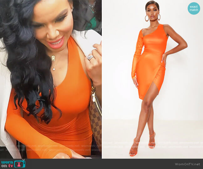 Bright Orange One Shoulder Asymmetric Neck Bodycon Dress by Pretty Little Thing worn by Mia Thornton  on The Real Housewives of Potomac