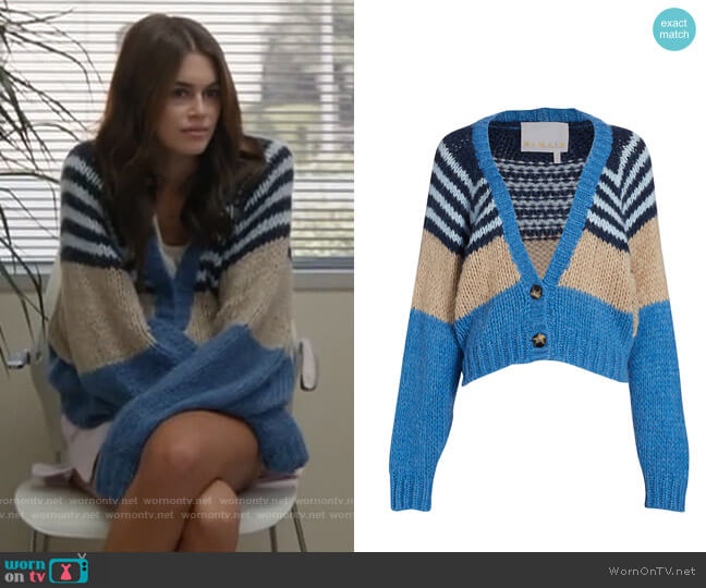 REMAIN Birger Christensen Esther Contrast Striped Cardigan worn by Kendall (Kaia Gerber) on American Horror Story