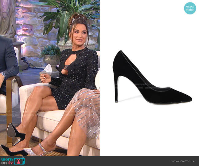 Grace Velvet Pumps by Rene' Caovilla worn by Kyle Richards  on The Real Housewives of Beverly Hills