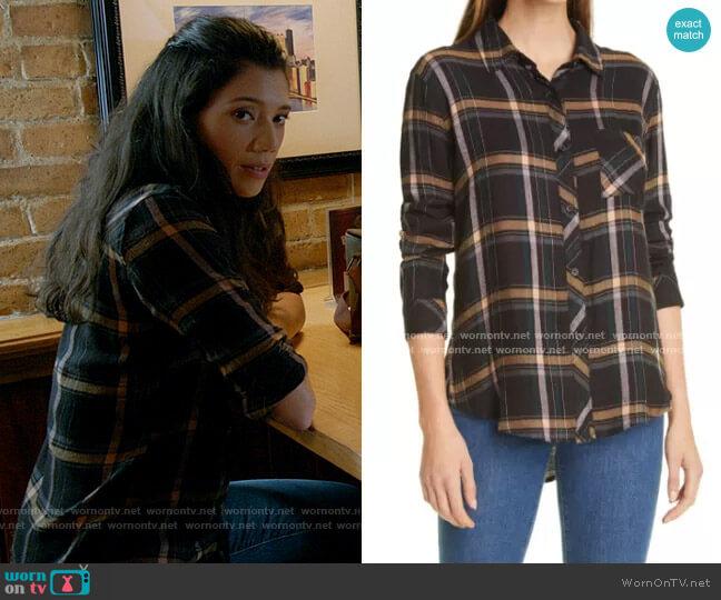 Rails  Hunter Shirt in Midnight Teal / Mustard  worn by Violet Mikami (Hanako Greensmith) on Chicago Fire