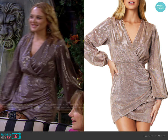 Ramy Brook Bonny Faux-Wrap Dress worn by Summer Newman (Hunter King) on The Young & the Restless