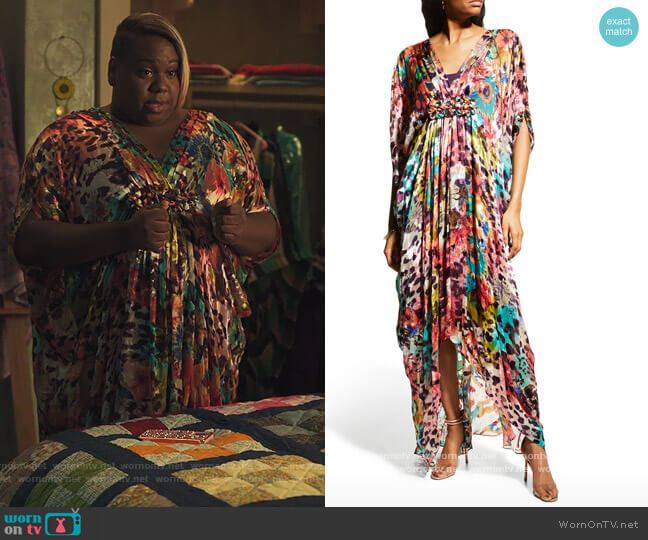 High-Low Chiffon Kaftan Gown by Rickie Freeman For Teri Jon