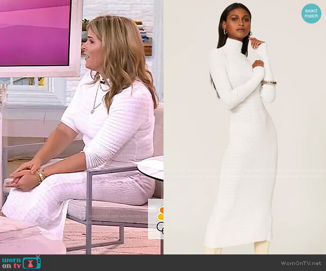 Ruched Turtleneck Dress by Rosetta Getty worn by Jenna Bush Hager  on Today