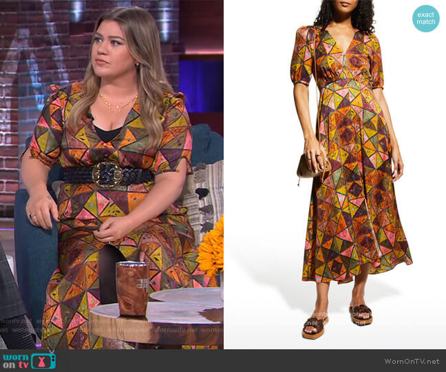 Lea Embroidered Silk Dress by Saloni worn by Kelly Clarkson  on The Kelly Clarkson Show
