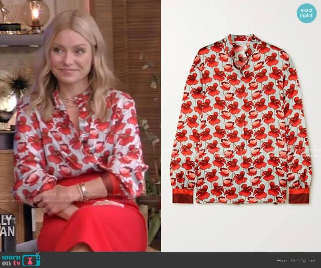 Savannah Floral-Print Silk-Satin Blouse by Raquel Diniz worn by Kelly Ripa  on Live with Kelly & Ryan