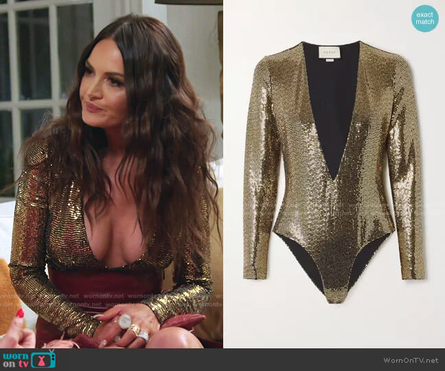 Sequined Tulle Bodysuit by Gucci worn by Lisa Barlow  on The Real Housewives of Salt Lake City