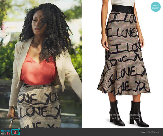 Love You Embroidered Skirt by Silvia Tcherassi worn by Angela Vaughn (Yaya DaCosta) on Our Kind of People