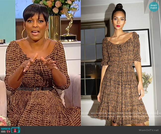 Brown printed drawstring Dress by Sophie Theallet worn by Tamron Hall  on Tamron Hall Show