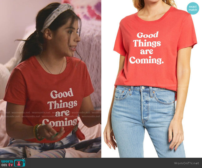 Good Things are Coming Graphic Tee by Sub Urban Riot worn by Dawn Schafer (Kyndra Sanchez) on The Baby-Sitters Club