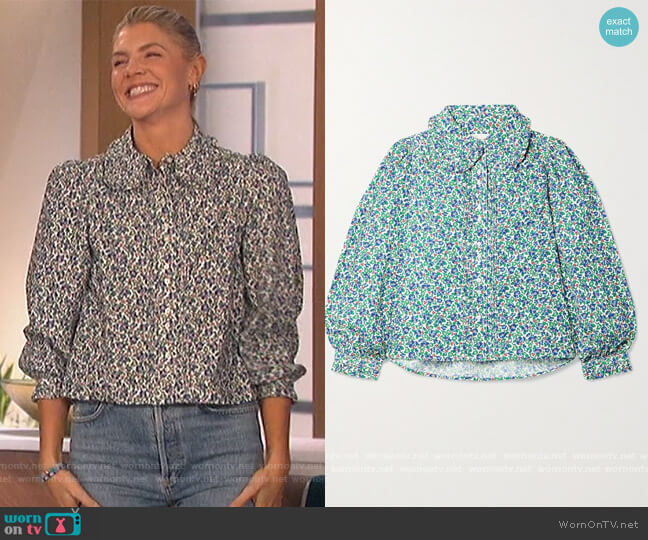 Hemmingway pintucked floral-print cotton-corduroy blouse by The Great worn by Amanda Kloots  on The Talk