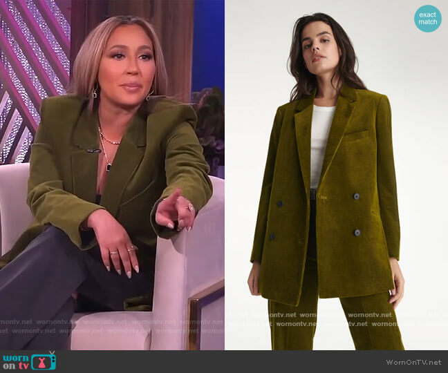 Green Double Breasted Jacket by The Kooples worn by Adrienne Houghton  on The Real
