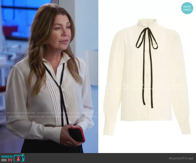 Contrast Ties Pleated Front Silk Shirt by Victoria Beckham worn by Meredith Grey (Ellen Pompeo) on Greys Anatomy