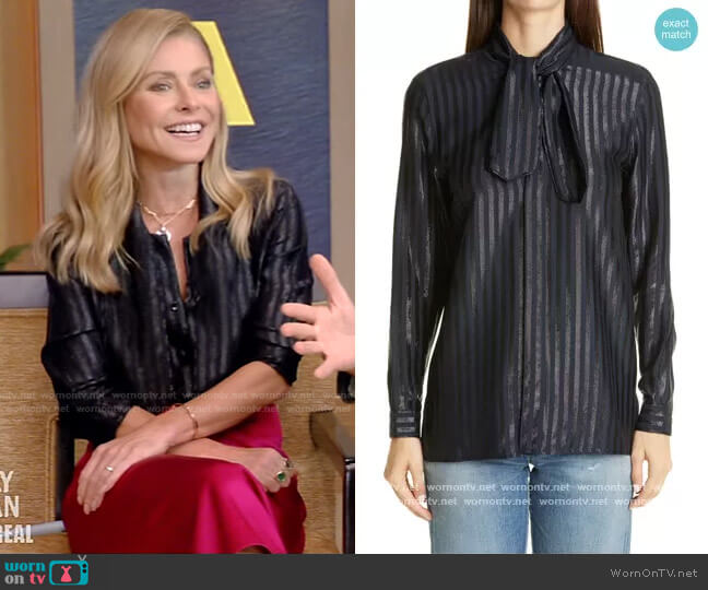 Tie-neck striped metallic silk-blend shirt by Saint Laurent worn by Kelly Ripa  on Live with Kelly & Ryan