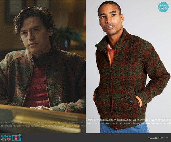 Harris Tweed Varsity Jacket by Todd Snyder worn by Jughead Jones (Cole Sprouse) on Riverdale