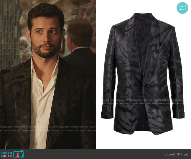 Abstract-Jacquard Satin Tuxedo Jacket by Tom Ford worn by Sam Flores (Rafael de la Fuente) on Dynasty