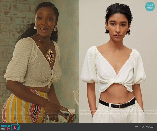 Lena Twist Front Top by Urban Outfitters worn by Angela Vaughn (Yaya DaCosta) on Our Kind of People