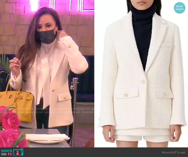 Vandra Wool Tweed Blazer by Maje worn by Kyle Richards  on The Real Housewives of Beverly Hills