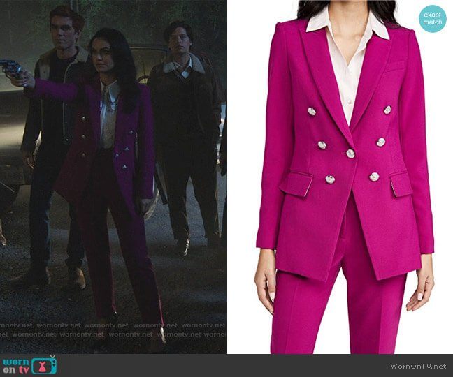 Matteo Dickey Jacket and Pants by Veronica Beard worn by Veronica Lodge (Camila Mendes) on Riverdale