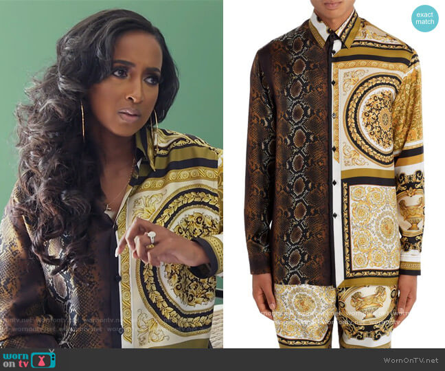 Barocco Patchwork Print Silk Button-Up Shirt by Versace worn by Askale Davis on The Real Housewives of Potomac