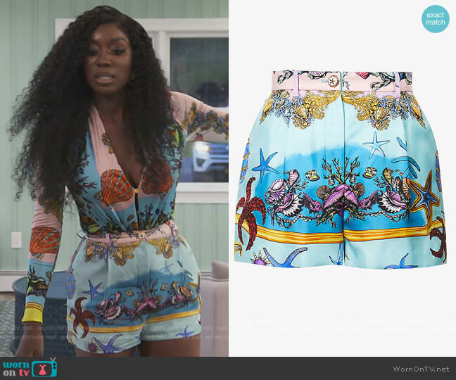 Shell Print Shorts by Versace worn by Wendy Osefo  on The Real Housewives of Potomac