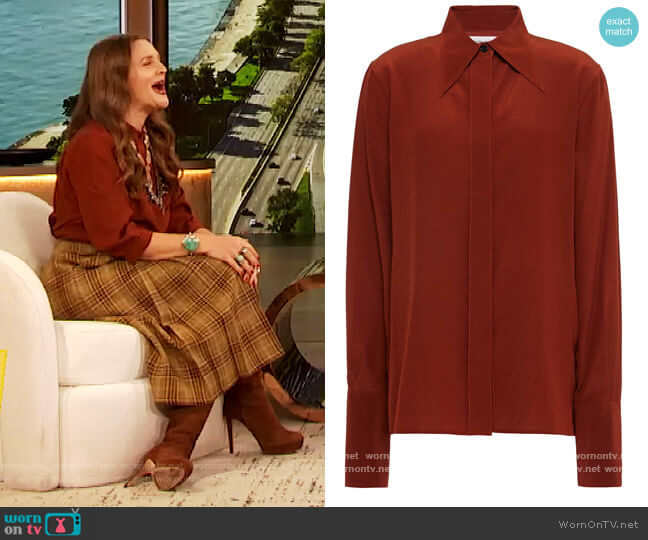 Silk crepe de chine shirt by Victoria Beckham worn by Drew Barrymore  on The Drew Barrymore Show