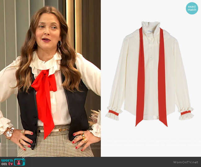 Ruffled silk twill blouse by Victoria Beckham worn by Drew Barrymore  on The Drew Barrymore Show