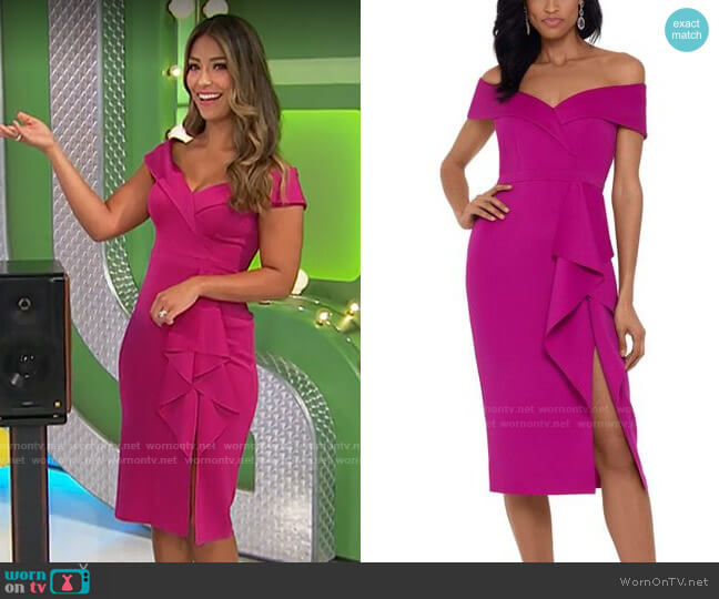 Xscape Waterfall-Ruffle Off-the-Shoulder Gown worn by Manuela Arbeláez  on The Price is Right