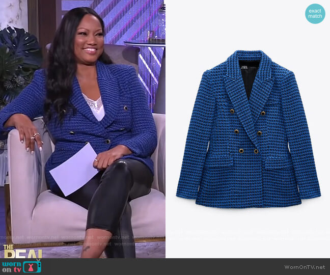 Textured Double Breasted Blazer by Zara worn by Garcelle Beauvais  on The Real
